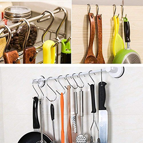 (MSOO 15 Pack S Shaped Hooks Hanging in Polished Metal for Kitchen Bedroom Office)