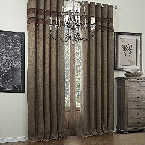 IYUEGO Bamboo Fiber Faux Classic Room Darkening Grommet Top Curtain Draperies With Multi Size Custom 50