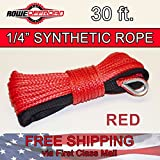1/4'' x 30' RED Synthetic Winch Line Cable Rope 6500 LBs with Sheath (ATV UTV)