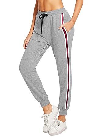 e28174027020 Lantch Femme Pantalon Survêtement Pantalons Jogging Yoga Rayures Pantalon  de Sport Décontracté Sweatpants(Gris-