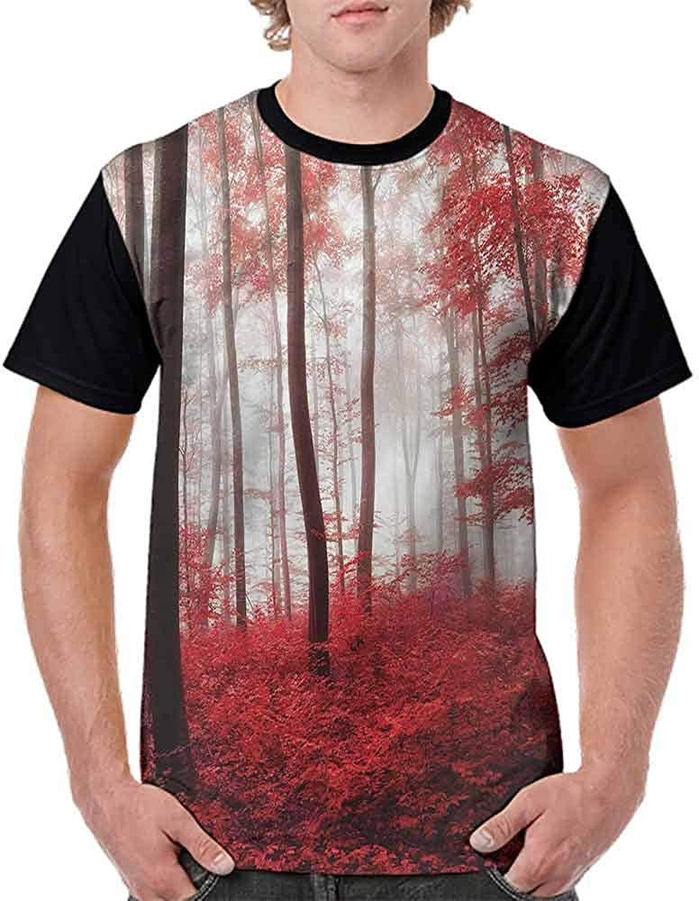 Loose T Shirt,Mushroom Houses in Forest Fashion Personality Customization