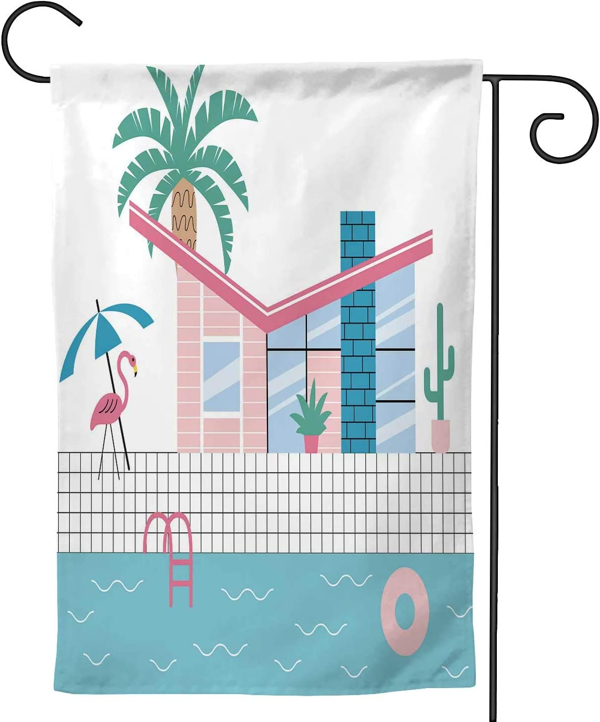 Hitecera Mid Century Modern House with Palm Trees and Plastic Flamingo,Welcome Garden Flag Double Sided Outdoor Decoration 12.5''x18''