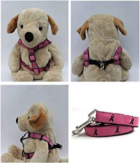 "product image for Diva-Dog Pink 'Breast Cancer Awareness' Custom 5/8"" Wide Dog Step-in Harness with Plain or Engraved Buckle, Matching Leash Available - Teacup, XS/S"
