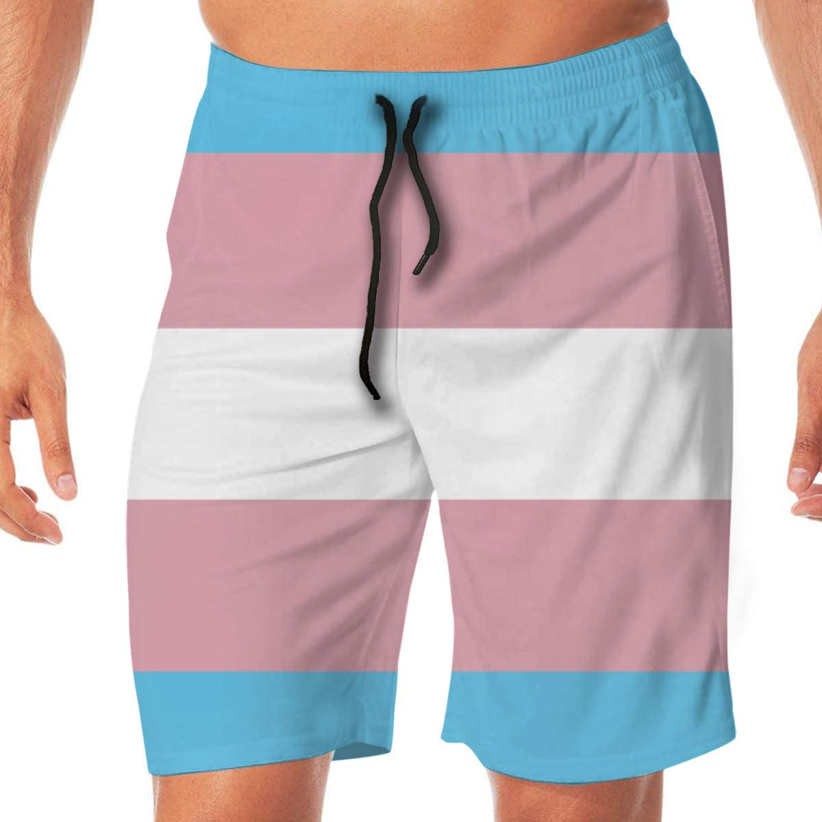 COLSHOORTS Transgender Pride Flag Men Hawaiian Shorts Quick Dry Summer 3D Printed Elastic Beach Short Aloha Short with Pocket