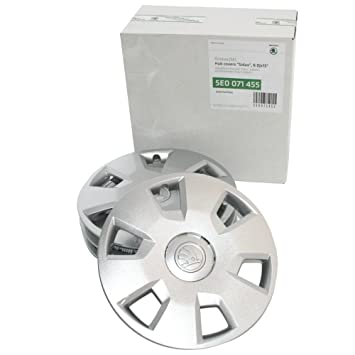 SKODA 5E0071455 Original Set Hub Caps 15 Inch Sidus 6.0Jx15 Caps 4x Wheel trims Wheel Steel Rim: Amazon.co.uk: Car & Motorbike
