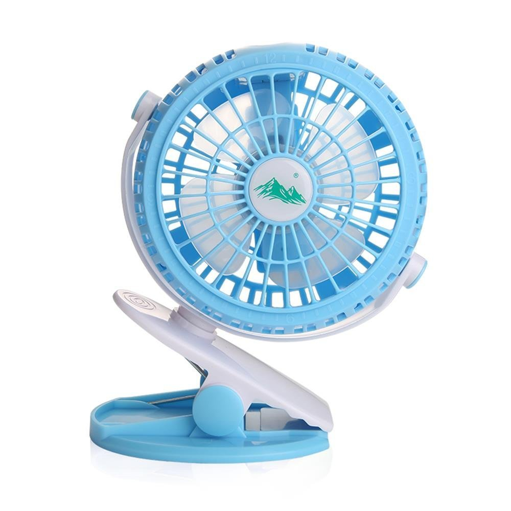 Clip On Fan for Baby Stroller Pram Blue, Bunk Bed Carseat Rechargeable Battery or USB Operated Clamp Mini Fan, Desk Table Fan, Camping, Workout, Portable by ShoppeWatch - MPF-46 MPF46-BLU