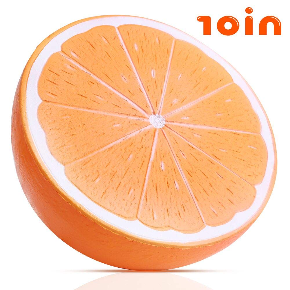 Outee 10 Inch Jumbo Orange Squishy Big Slow Rising Orange Squishies Scented Kawaii Stress Relief Squishy Squeeze Toys for Kids Adults