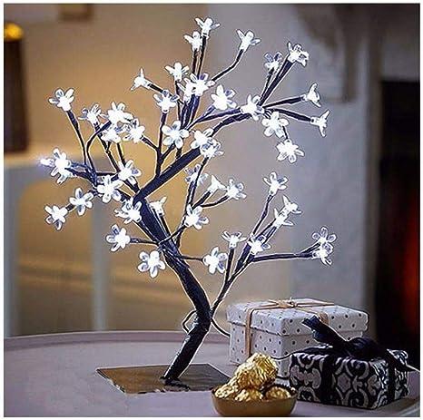 Luminária Árvore Flor De Cerejeira 48 Leds Abajur Bivolt Branco Frio |  Amazon.com.br