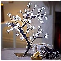 Luminária Árvore Flor De Cerejeira 48 Leds Abajur Bivolt Branco Frio