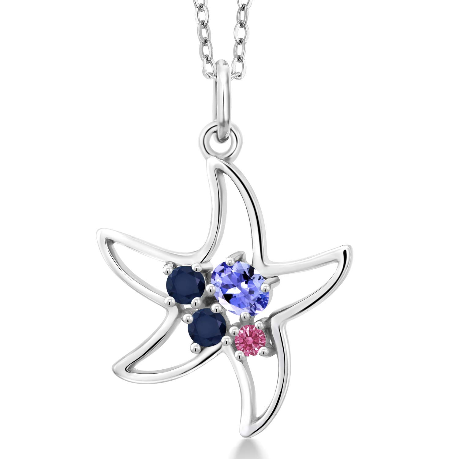 Gem Stone King 0.31 Ct Oval Blue Tanzanite Blue Sapphire 925 Sterling Silver Starfish Necklace