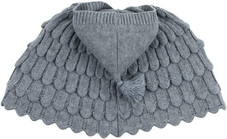 3-6 Months, Gray Kintaz Toddler Baby Girl Winter Jacket Solid Button Wing-Shaped Knit Warm Hooded Sweater Coat