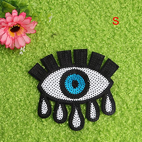 Hunulu 1PC Crying Eye Eyeball Tattoo Embroidered Cloth Iron On Patch Sew Motif Applique Craft (S) (Cute Halloween Costumes Tumblr)