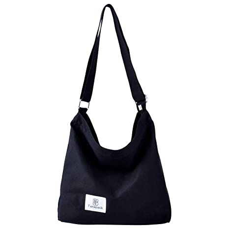 6b815dabb2e Amazon.com  Fanspack Women s Canvas Hobo Handbags Simple Casual Top Handle  Tote Bag Crossbody Shoulder Bag Shopping Work Bag (Black-Original Design)   ...
