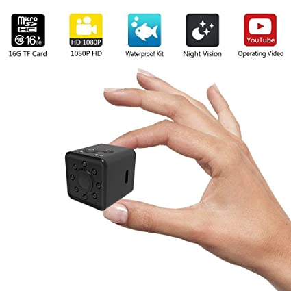 KOBWA Mini Cámara WiFi,Segura Inalambrica Portátil 1080P HD Impermeable Cámara de Vigilancia Detección de