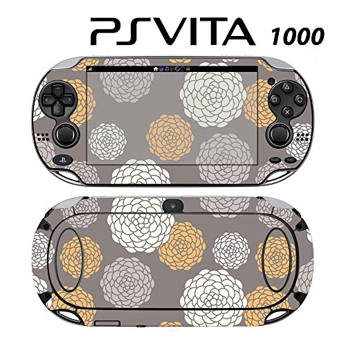 Skin Decal Cover Sticker for Sony PlayStation PS Vita (PCH-1000) - Modern Flower Blossom Grey -  Decals Plus