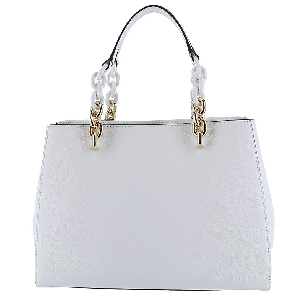 b35302646d3c Amazon.com  MICHAEL Michael Kors Cynthia Saffiano Leather Satchel (Optic  White)  Shoes
