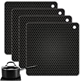 TONMIDEJ Silicone Pot Holder Square Honeycomb Pattern 7.2 x 7.2 x 0.2 inch/Black - Set of 4