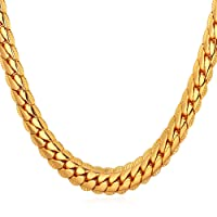 "U7 18K Gold Plated Necklace With""18K"" Stamp Men Jewelry 4 Colors 6MM-9MM Wide Snake Chain Necklace,18""-32"""