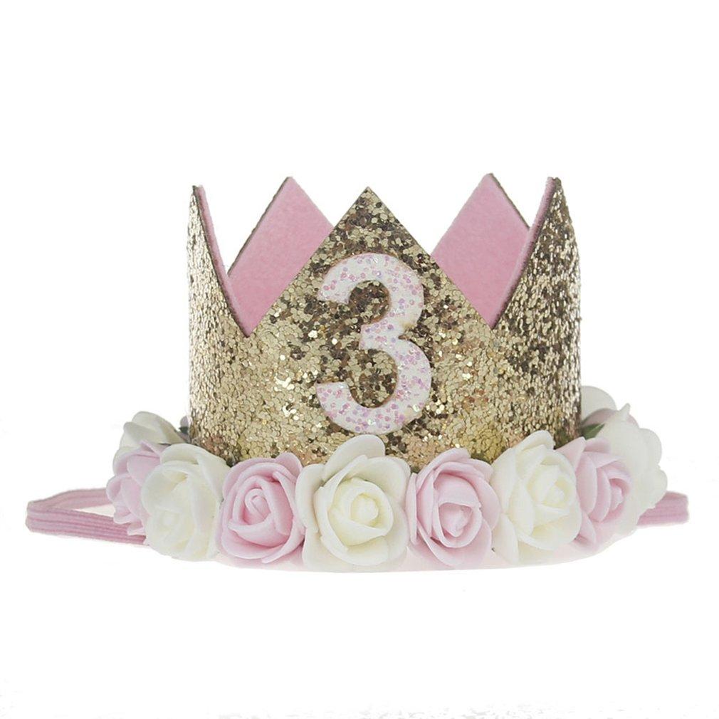Bodhi2000 Baby Kleinkind Geburtstag Hairband Pailletten Blume Krone Headwear Hut