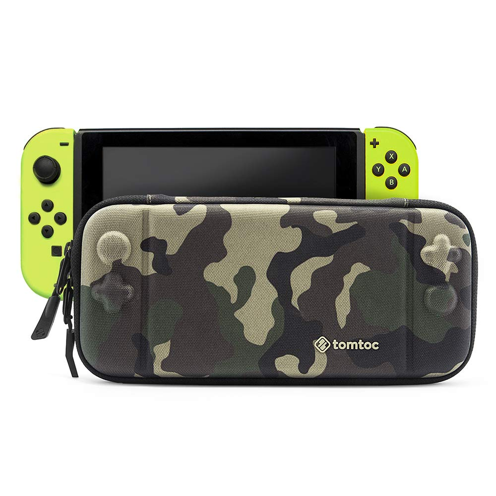 tomtoc Slim Hard Case Compatible with Nintendo Switch, Original Patent Portable Hardshell Travel Carrying Case, fit Switch Console Cover, 8 Game Cartridges Accessory, Camouflage