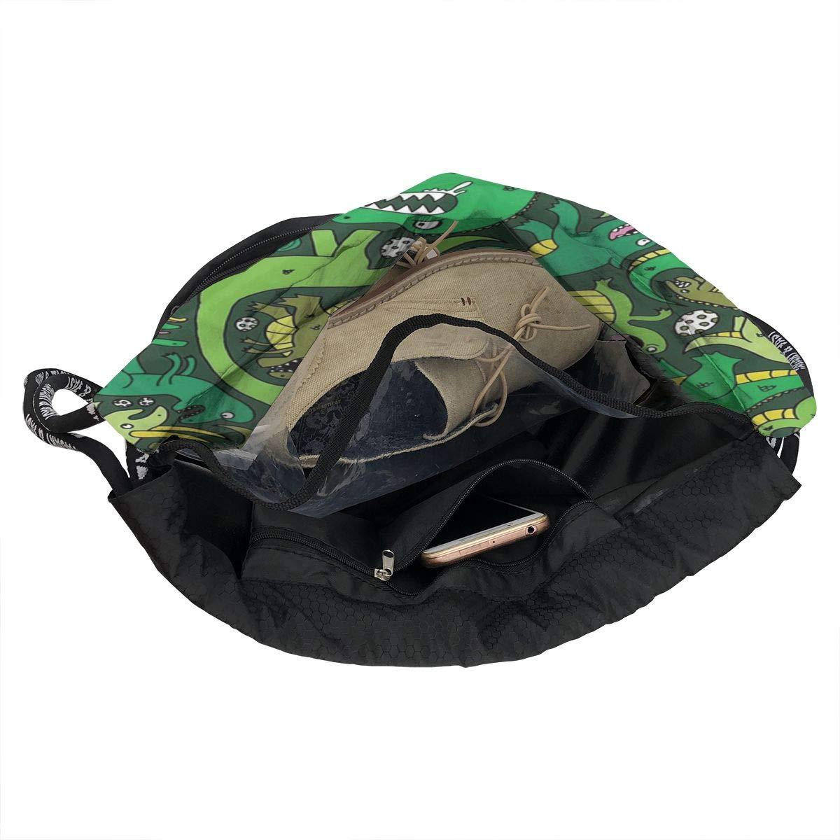 HUOPR5Q Lovely Green Dinosaurs Drawstring Backpack Sport Gym Sack Shoulder Bulk Bag Dance Bag for School Travel