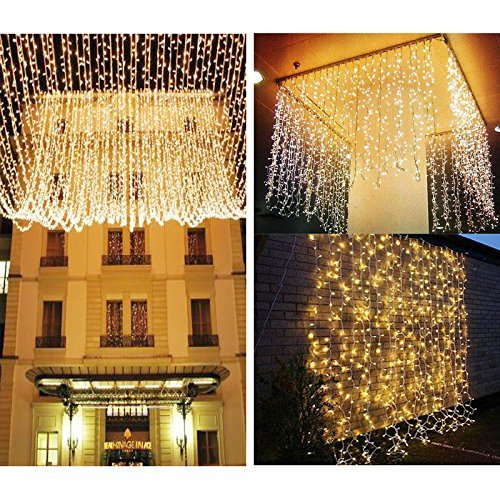 Liida 300 Curtain Lights 9 8 X9 8ft Warm White Curtain Twinkle Lights Christmas Curtain String Fairy Wedding Led Lights For Holiday Party Outdoor Wall Bathroom Wedding Decorations Buy Online In India At Desertcart In