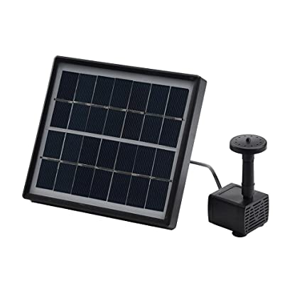Dingji Solar with Separate Solar Panel and 3M Long Cable & 4 Sprayer  Adapters(Black) Water Panel Power Fountain Pump Kit Pool Garden Pond  Watering