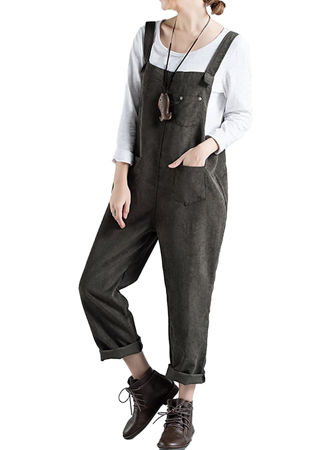 LEO BON Womens Soild Color Simple Pattern Overalls Jumpsuits Work Utility Coveralls KF-LSZYF-090