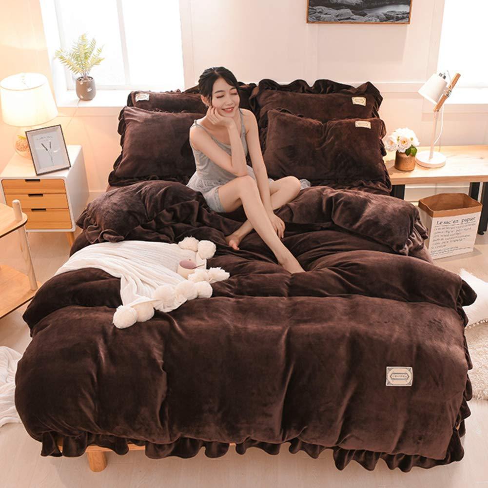 SL-DAM Flanell bettwäsche,Dick Warme Winter Double Coverluxury Quilt Hypoallergene Volltonfarbe Weiche & atmungsaktiv Komfort für mädchen Schlafzimmer-v 150x200cm(59x79inch)