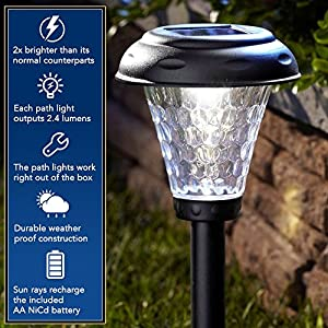 Moonrays 91381 Payton Solar LED Plastic Path Light, 2X-Brighter, 8-Pack