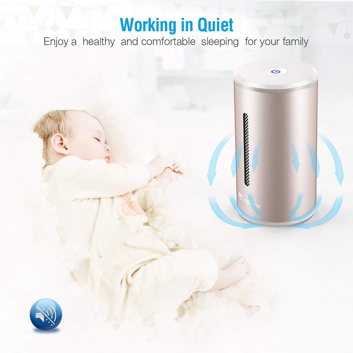 isYoung Air Purifier with True Hepa Filter, Odor Allergies Eliminator, Air Cleaner for Smokers, Smoke, Dust, Mold, Home and Pets (Gold)