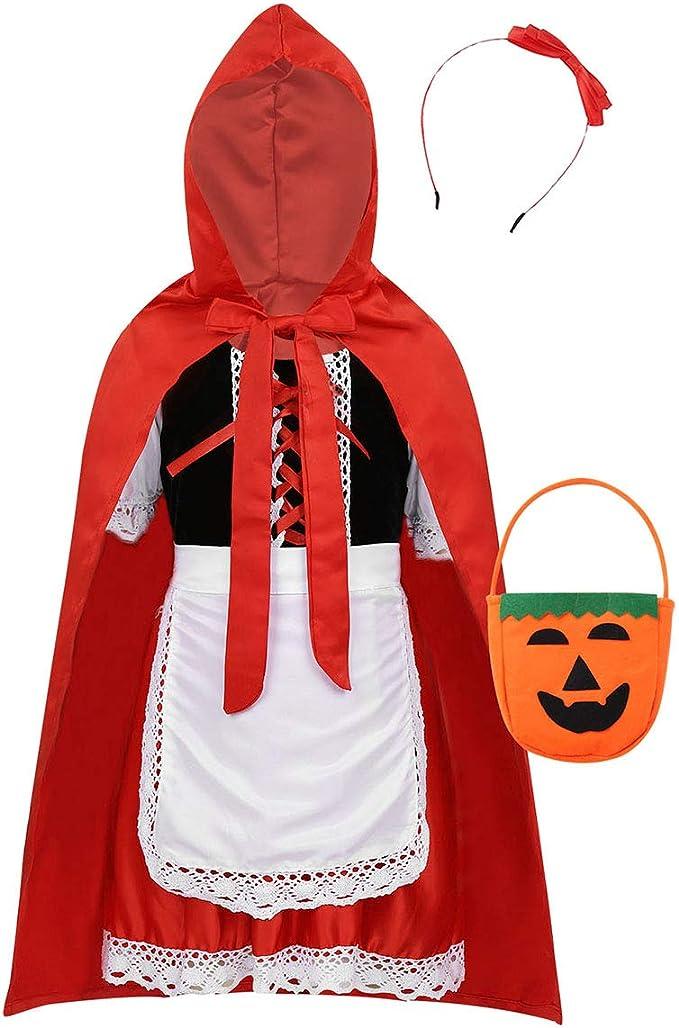 ranrann Disfraz de Caperucita Roja para Niña Cosplay 5Pcs Traje ...