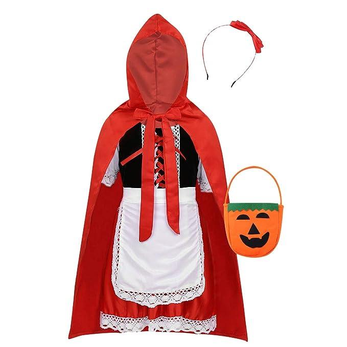 inhzoy Disfraz de Caperucita Roja para Niña Cosplay Traje de ...
