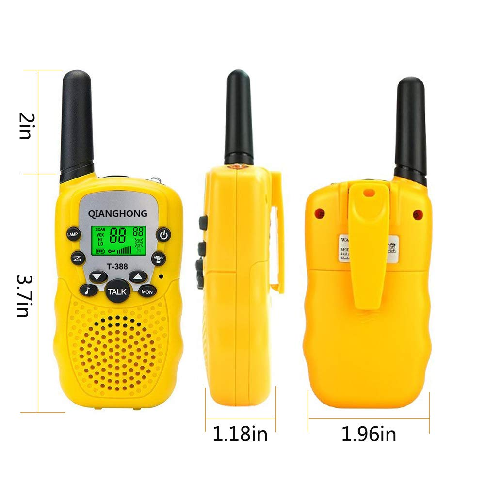 Qianghong T3 Kids Walkie Talkies 3-12 Year Old Children's Outdoor Toys Mini Two Way Radios UHF 462-467 MHz Frequency 22 Channels -1 Pair Yellow by Qianghong (Image #4)
