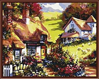 Frameless Wall Art Pictures Painting by Numbers of Beauty Houses On Mountain Landscape DIY Canvas Oil Painting Home Decor,60x75cm