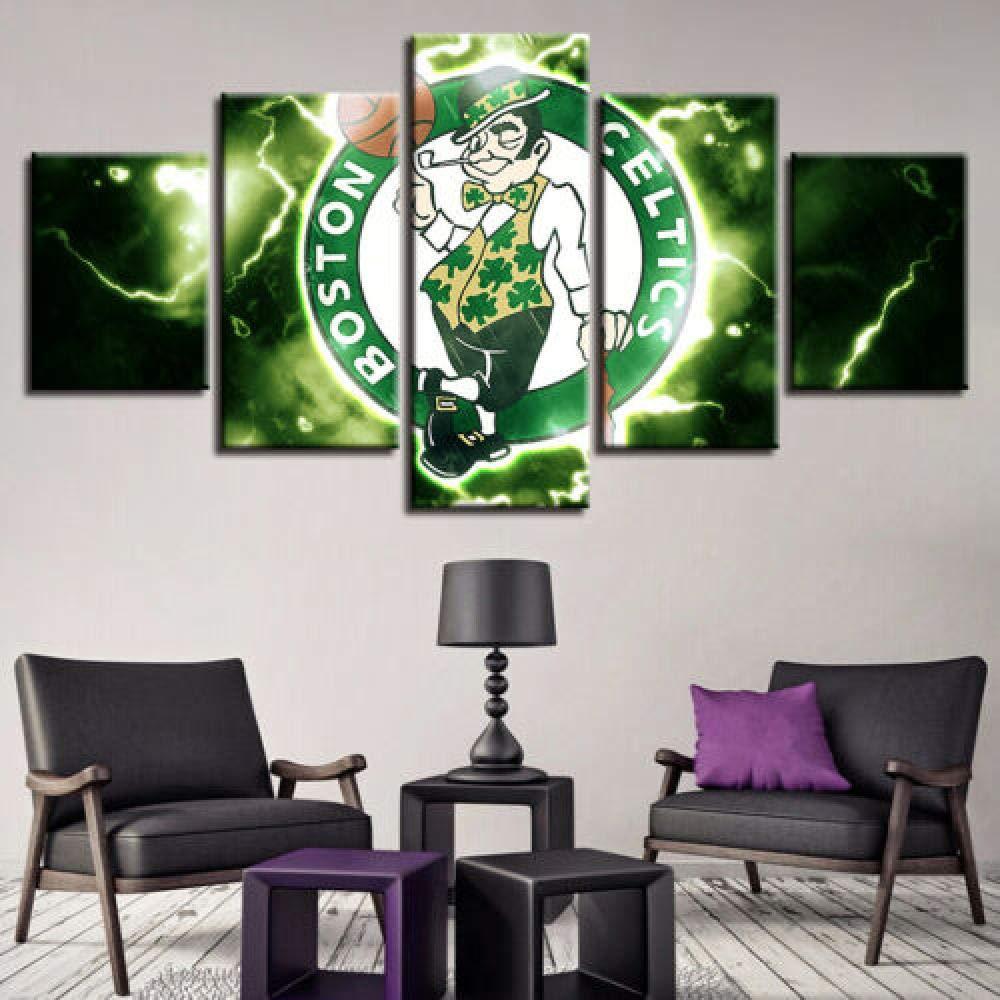 55Cm-Incorniciato 6Lv5Panel Stampe E Quadri su Tela Boston Celtics Stampa 5 Pezzi su Tela Dipinto Arte Murale 1-100