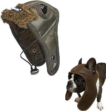 Ducomi - Sombrero piloto para Perro – Gorro Aviador de Piel ...