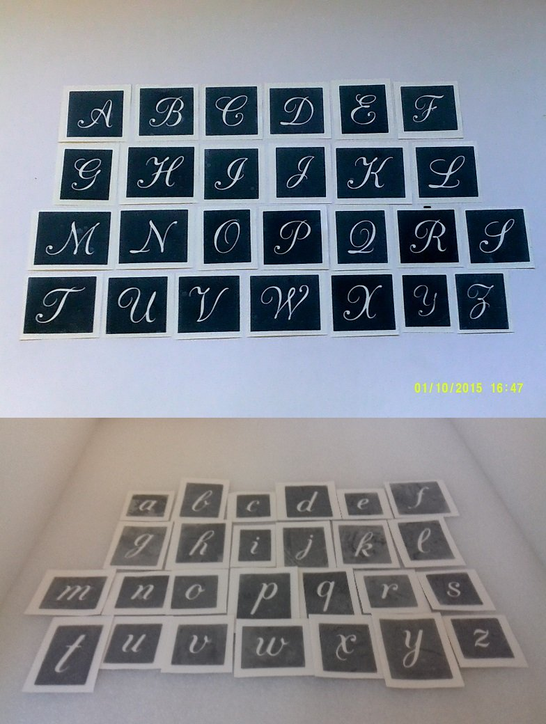 Large capital & lower case letter stencils (mixed) for etching glass A-Z - 50 letters mixed Dazzle Glitter Tattoos