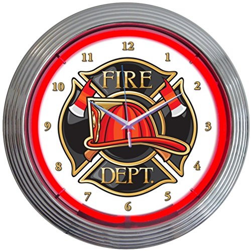 Neonetics Fire Department Neon Wall Clock, 15-Inch