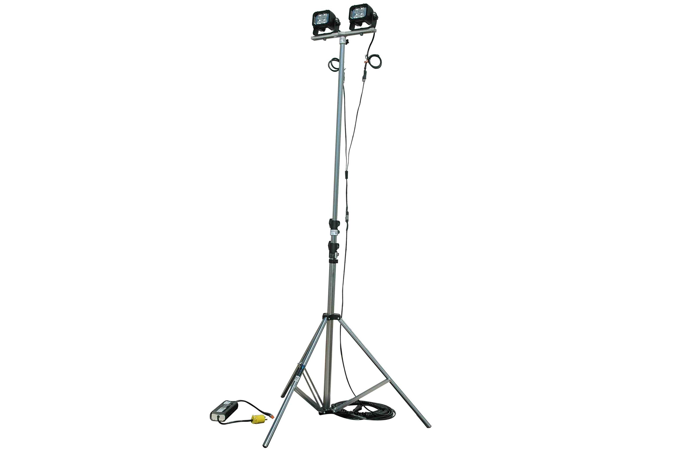 24W Portable LED Telescoping Light Tower - Extends 3.5' to 10' - 15ft Coil Cord - 1440 Total Lumens