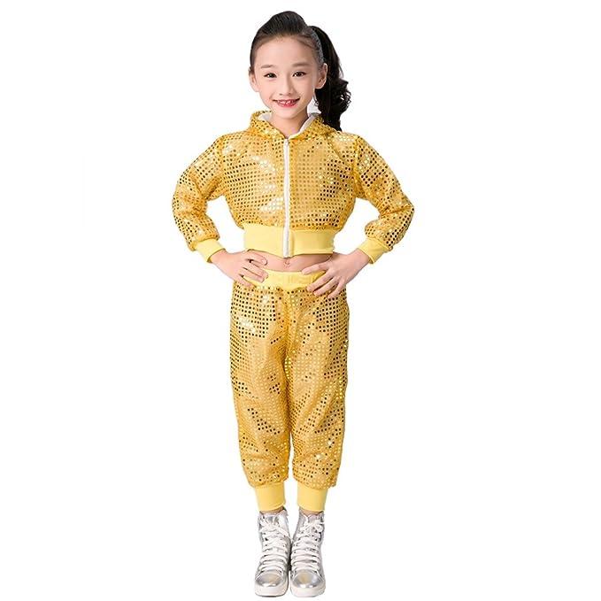 72df4b1dd5174 niños niñas Lentejuelas Hip Hop Traje de Calle Conjunto de Ropa de Baile   Amazon.es  Ropa y accesorios