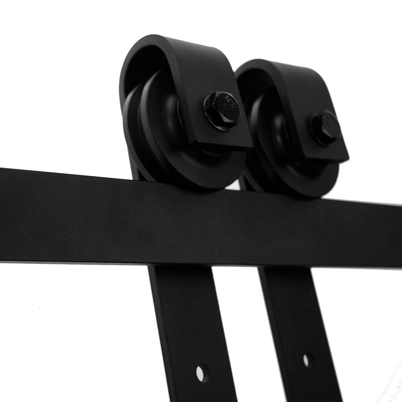 LWZH 5FT Sliding Wood Barn Door Steel Hardware Kit for Single Door(Black J Shaped Hangers) Cool artist