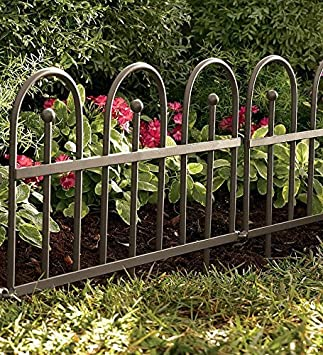Plow U0026 Hearth Classic Iron Fence Garden Edging   Iron   Pewter Finish    120u0026quot;
