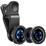 Universal Phone Camera Lens - Luxsure 3 in 1 Phone Lens Kit with 180° Fisheye Len + Super Wide Angle Lens + 10X Macro Lens for iPhone 7/6s Plus/6s/6/6 Plus Samsung iPad and Most Smartphones (Black)