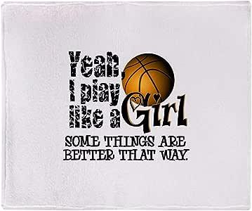 "CafePress Play Like A Girl Basketball Throw Blanket Soft Fleece Throw Blanket, 50""x60"" Stadium Blanket"