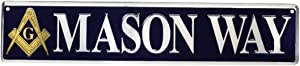 Treasure Gurus Mason Way Tin Metal Street Sign Masonic Gift