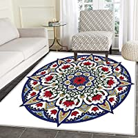 Moroccan Floor Mat Pattern Asian Ethnic Mandala Lotus Flowers Kaleidoscopic Circular Ancient Traditional Living Dinning Room & Bedroom Rugs 5x6 Blue Ruby Green