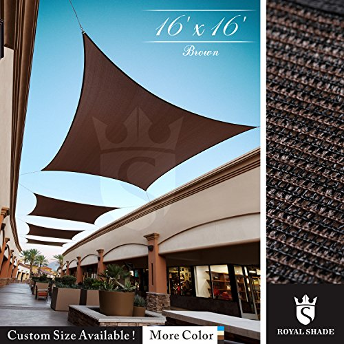 Royal Shade 16 x 16 Brown Square Sun Shade Sail Canopy, 95 UV Blockage, Heavy Duty 200GSM, Custom Made Size