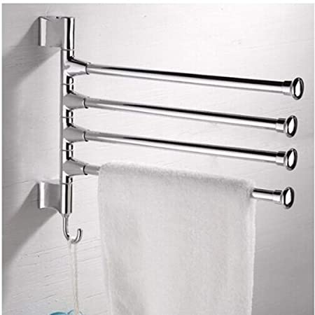 Phoewon Swivel Towel Rail Chrome Stainless Steel Bath Rack Wall