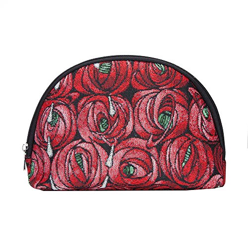 (Red Mackintosh Rose and Teardrop Cosmetic Bag by Signare/Designer Art Floral Ladies Makeup Toiletry Case/COSM-RMTD)